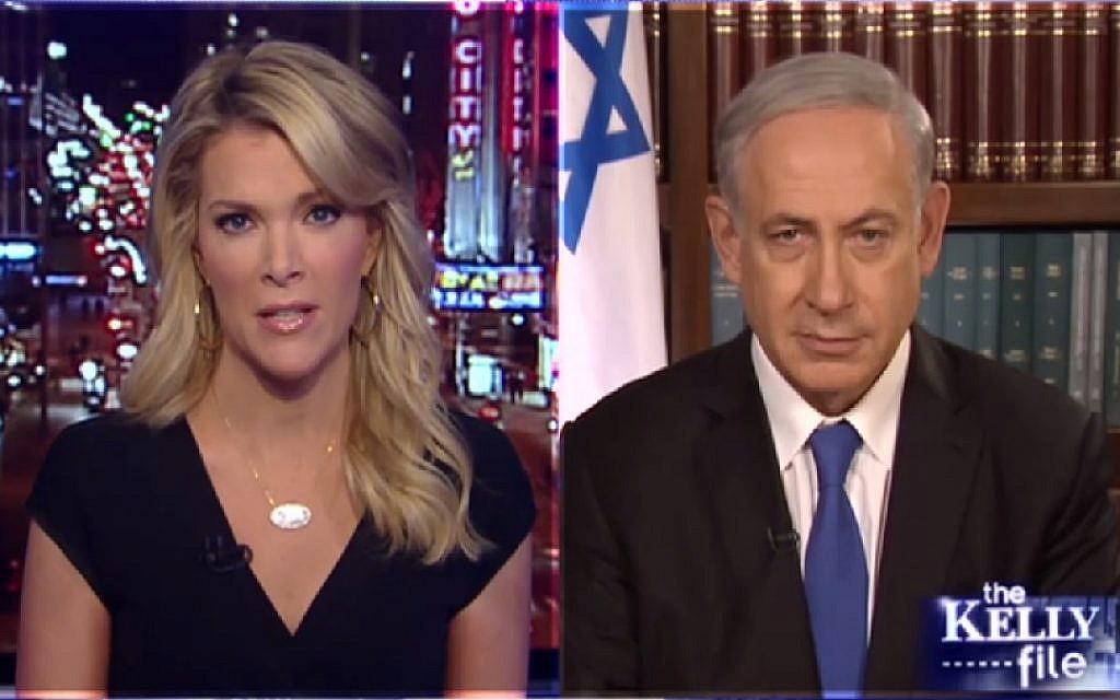 Prime Minister Benjamin Netanyahu interviewed by Fox News anchor Megyn Kelly on Thursday, March 19, 2015. (photo credit: Screen capture, Fox News)