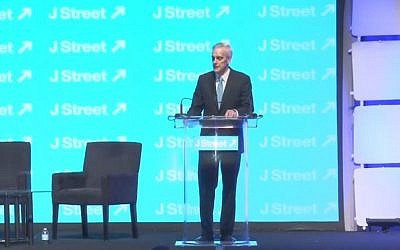 Denis McDonough speaking at the J Street Conference in Washington on March 23, 2015. (Screen capture: YouTube)