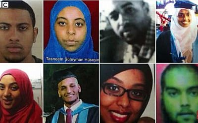 Faces of nine British medial students feared to have joined the Islamic State. (screen capture: YouTube/BBC News)