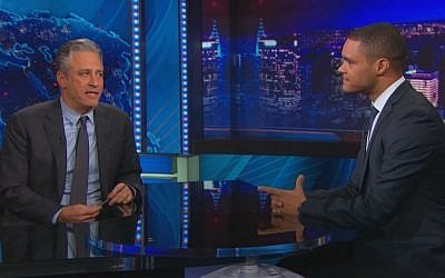 'Daily Show' host Jon Stewart and his successor Trevor Noah (screen capture: YouTube)