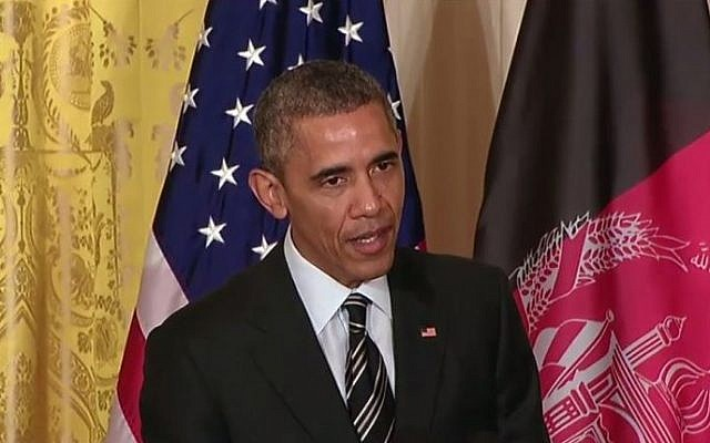 US President Barack Obama speaks about the possibilities of a two-state solution during a press conference in Washington, March 24, 2015 (screen capture: YouTube)