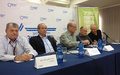 Commanders for Israel's Security members at a press conference in Tel Aviv, March 11, 2015.  (Photo credit: Mitch Ginsburg/times of Israel)