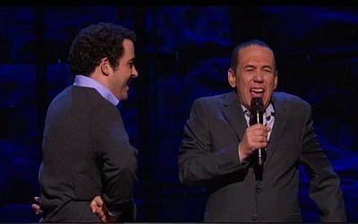 Owen Suskind (L) and Gilbert Gottfried on stage in New York at 'The Night of Too Many Stars,' March 7, 2015 (Photo credit: Screenshot)