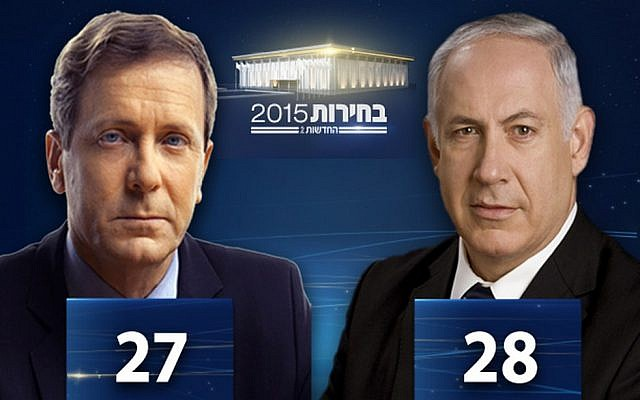 Channel 2 exit poll at 10 p.m. on March 17, 2105 gave Zionist Union 27 seats and Likud 28. The final result was Likud 30, Zionist Union 24. (Channel 2 screenshot)