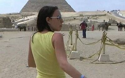 Screenshot from an alleged porn movie shot at the Egyptian Pyramids sometime in 1997 and which was uploaded to YouTube last year.