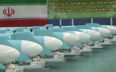 A line of Iranian Qadir anti-ship cruise missiles, first revealed in 2011. (screen capture: YouTube/PressTV)