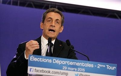 Former French president and conservative party UMP leader Nicolas Sarkozy gives a speech following the final round of French local elections, in Paris, France, March 29, 2015. (AP Photo/Thibault Camus)