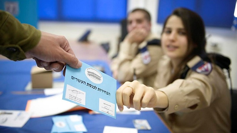 IDF soldiers take part in early voting process two days before the Knesset Elections, March 15, 2015. (photo credit: IDF Spokesperson)