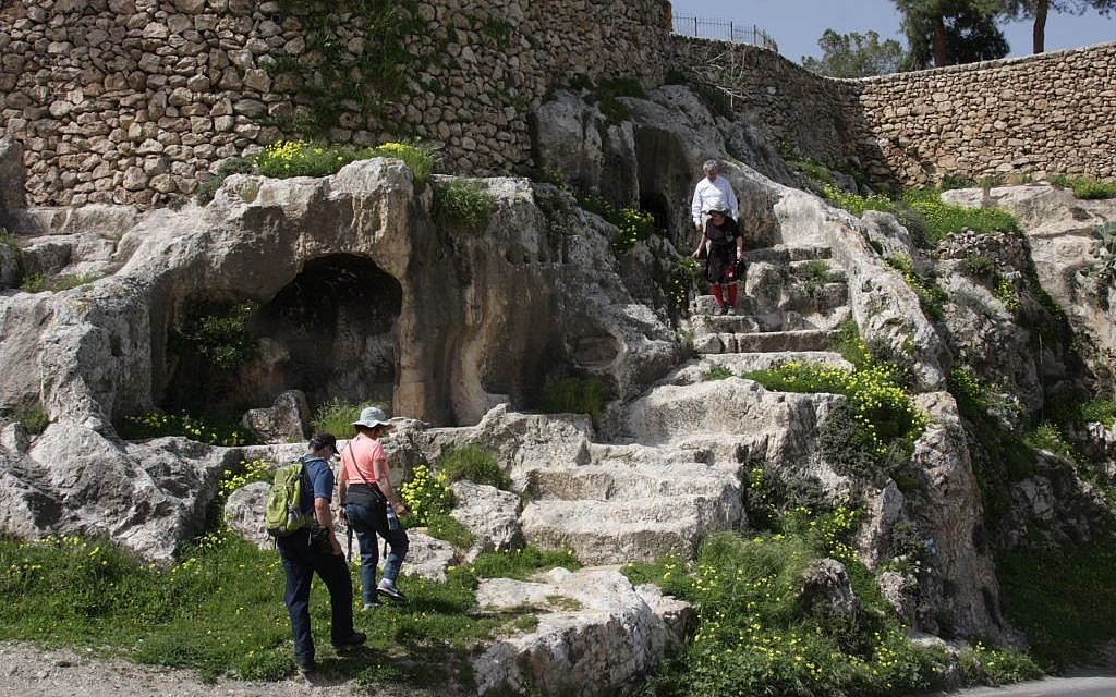 Steps to the burial cave on the Jerusalem Trail (photo credit: Shmuel Bar-Am))