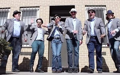 "A screen shot of Six13's ""Uptown Passover"" parody video. (screen capture: YouTube)"