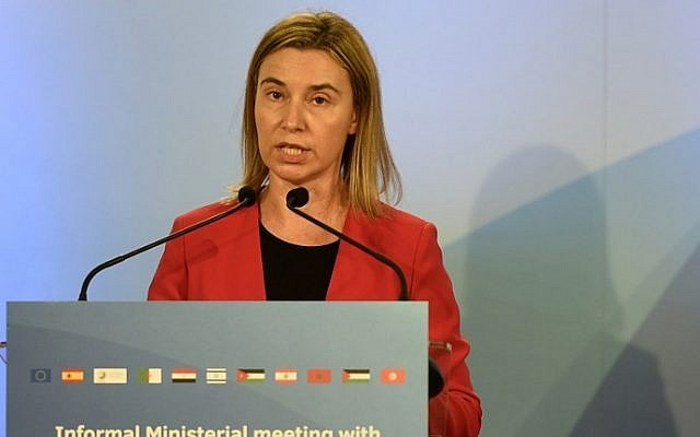 European Union High Representative Federica Mogherini speaks during the informal Ministerial meeting gathering foreign ministers from the European Union and the southern Mediterranean nations in Barcelona on April 13, 2015. (AFP/LLUIS GENE)