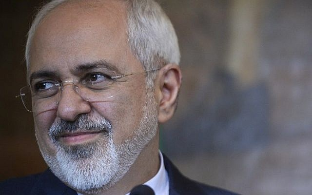 Iranian Foreign Minister Mohammad Javad Zarif at a press conference in Lisbon, April 15, 2015. (AFP/Patricia De Melo Moreira)