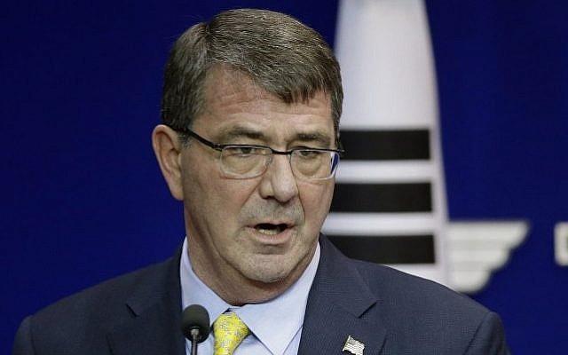 US Defense Secretary Ashton Carter, April 10, 2015 (AFP/pool)