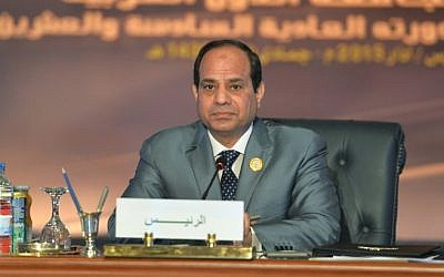 Egyptian President Abdel Fattah el-Sissi looks on during the Arab League summit at the Red Sea resort of Sharm El-Sheikh on March 29, 2015. (photo credit: AFP/ MOHAMED EL-SHAHED)