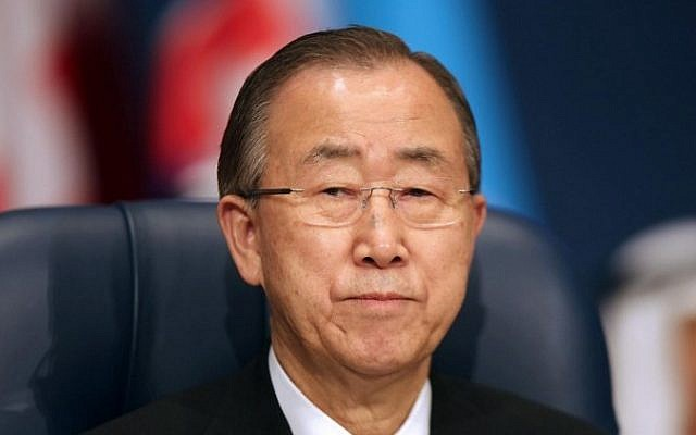 United Nations Secretary-General Ban Ki-moon attends the opening ceremony of the Second International Humanitarian Pledging Conference for Syria, at Bayan palace in Kuwait City, on March 31,2015. (Photo credit: AFP/ STR)