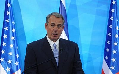 Former US House Speaker John Boehner in Jerusalem on April 1, 2015 (AFP/Debbie Hill/Pool)
