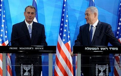 US House Speaker John Boehner (L) and Prime Minister Benjamin Netanyahu hold a press conference at the prime minister's office in Jerusalem on April 1, 2015. (photo credit: Debbie Hill/AFP)
