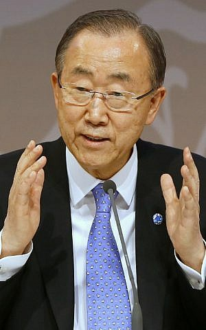 United Nations Secretary General Ban Ki-moon holds a press conference during the 13th UN Congress on Crime Prevention and Criminal Justice in the Qatari capital Doha on April 12, 2015 (AFP PHOTO / AL-WATAN DOHA / KARIM JAAFAR)