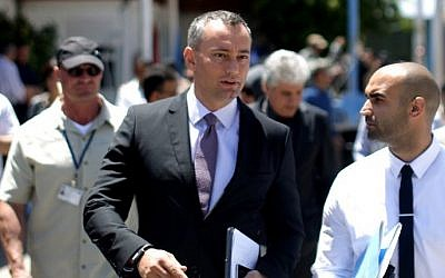 UN Middle East peace envoy Nickolay Mladenov after a press conference in Gaza City, April 30, 2015 (AFP/Mahmud Hams)