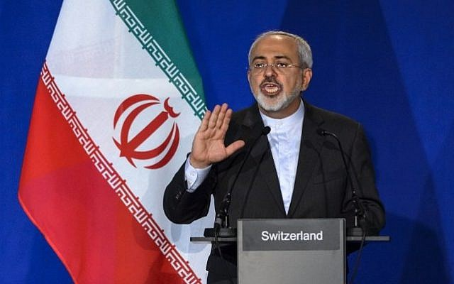 Iranian Foreign Minister Mohammad Javad Zarif in Lausanne, Switzerland, on April 2, 2015. (AFP/Fabrice Coffrini)