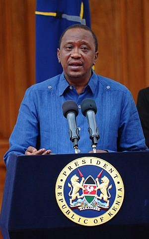 Kenyan President Uhuru Kenyatta addresses the Nation at the State House capital Nairobi on April 4, 2015 where he declared 3 days of national mourning following the Garissa University College terror attack and promised to support the victims. (photo credit: John Muchucha/AFP)