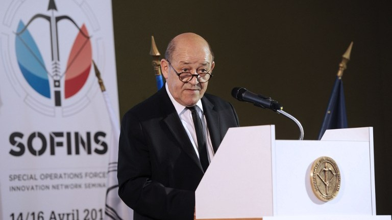 French Defense minister Jean-Yves Le Drian delivers a speech during his visit at the Special Operations Forces Innovation Network Seminar (SOFINS), on April 14, 2015 at Souge military camp in Martignas-sur-Jalle. (Photo credit: Mehdi Fedouach/AFP)