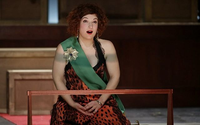 """French Mezzo-Soprano Isabelle Druet as she performs during a dress rehearsal of Jacques Offenbach's """"La Grande Duchesse"""", at the Theatre de l'Athenee in Paris. (photo credit: AFP PHOTO/KENZO TRIBOUILLARD)"""