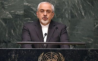 Iranian Foreign Minister Mohammad Javad Zarif speaks at the 2015 Review Conference of the Parties to the Treaty on the Non-Proliferation of Nuclear Weapons (NPT) April 27, 2015 at the United Nations in New York. (AFP/Timothy A. Clary)