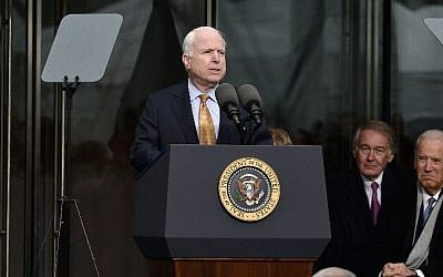 US Senator John McCain speaks at the dedication ceremony of the Edward M. Kennedy Institute for the United States Senate in Boston, Massachusetts, on March 30, 2015. (Paul Marotta/Getty Images/AFP)