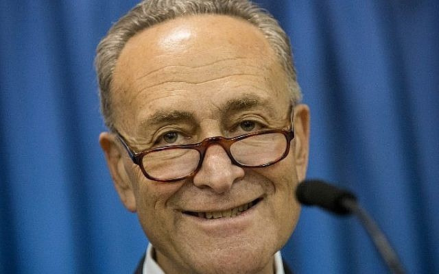 US Senator Chuck Schumer (D-NY) in New York City, March 31, 2015 (Andrew Burton/Getty Images/AFP)