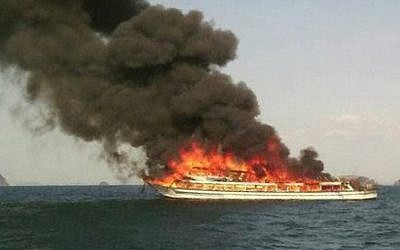 A ferry in Thailand burns on Wednesday, April 8, 2014. An Israeli girl was killed in the accident. (screen capture: Sanook.com)