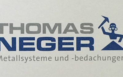 A photo of German politician Thomas Neger's business card and company logo. (photo credit: Facebook)