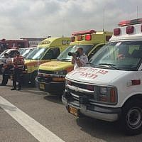 Magen David Adom ambulances at Ben Gurion airport as an El Al plane made an emergency landing, April 21, 2015. (MDA spokesperson/MDA operations)