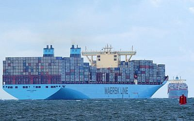 Maersk ships in 2014. (photo credit: CC BY-SA kees torn, Flickr)