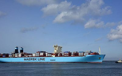 A Maersk ship in February 2015. (photo credit: CC BY-SA Kees Torn, Flickr)