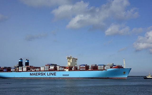 A Maersk ship in February 2015 (photo credit: CC BY-SA Kees Torn, Flickr)