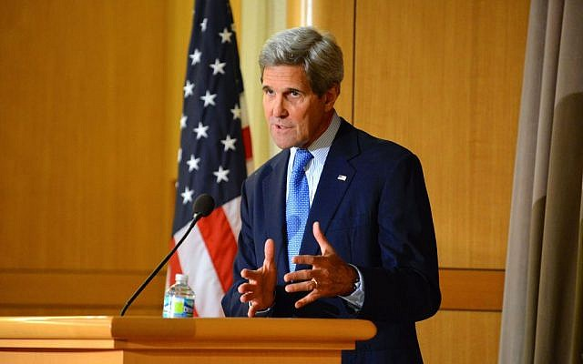 John Kerry speaking Thursday April 9, 2015. (photo credit: US State Department)