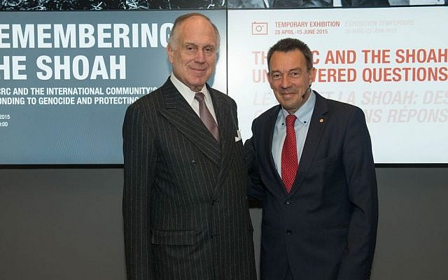 WJC President Ronald S. Lauder and ICRC President Peter Maurer at Geneva event April 28, 2015 marking 70 years since the liberation of Nazi camps. (Photo credit: courtesy)