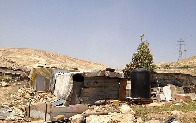 Illegally-constructed structures in the hamlet of Arareh, east of Jerusalem, April 29, 2015 (photo credit: Elhanan Miller/Times of Israel)