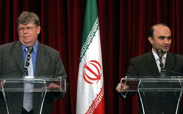 Iranian nuclear negotiator Javad Vaeedi and then-deputy Director General of the International Atomic Energy Agency Olli Heinonen, after talks in Tehran, July 12, 2007. (photo credit: AP Photo/Vahid Salemi)
