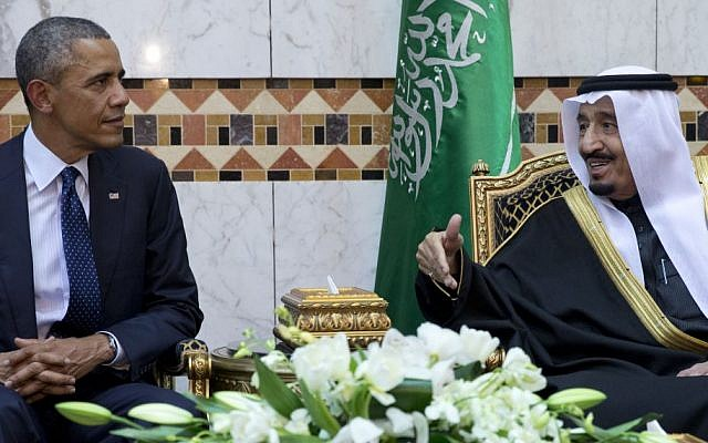 President Barack Obama meets with new Saudi Arabian King, Salman bin Abdul Aziz, at Erga Palace in Riyadh, Saudi Arabia, Tuesday, January 27, 2015 (photo credit: AP/Carolyn Kaster)