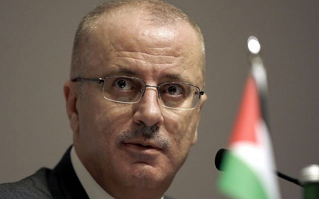 Palestinian Authority Prime Minister Rami Hamdallah, Tuesday, April 21, 2015 (AP/Dita Alangkara)