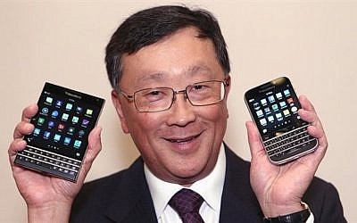 Blackberry CEO John Chen shows off some of his company's devices (Photo credit: BlackBerry)