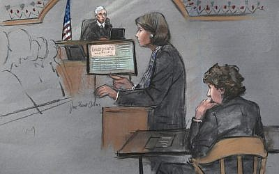 In this courtroom sketch, defense attorney Judy Clarke is depicted addressing the jury as defendant Dzhokhar Tsarnaev, right, sits during closing arguments in Tsarnaev's federal death penalty trial Monday, April 6, 2015, in Boston. (photo credit: AP/Jane Flavell Collins)