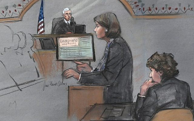 Courtroom sketch showing defense attorney Judy Clarke addressing the jury as defendant Dzhokhar Tsarnaev (right), sits during closing arguments in Tsarnaev's federal death penalty trial, April 6, 2015. (photo credit: AP/Jane Flavell Collins)