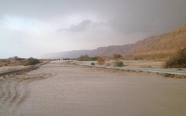 Police close Route 90 in eastern Israel due to flooding as the area gets struck with April showers on Apr. 16, 2015. (Photo credit: Israel Police spokesperson)