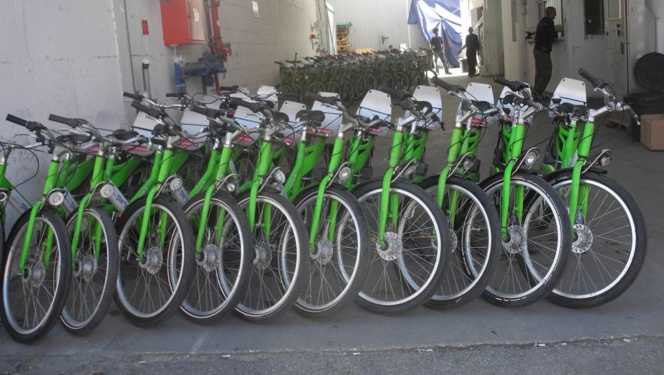 Part of the fleet of the 2,000 Tel-O-Fun bicycles after undergoing maintenance at the south Tel Aviv workshop.  (photo credit: Melanie Lidman/Times of Israel)