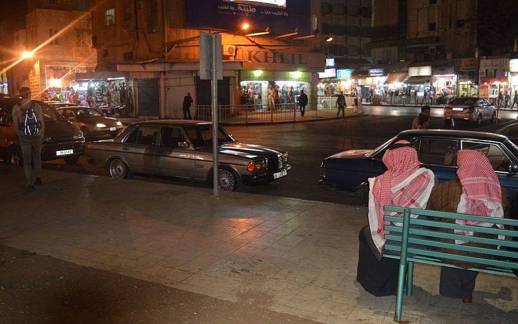 Downtown Amman at night, March 26, 2015 (photo credit: Avi Lewis/Times of Israel, Benyamin Loudmer)