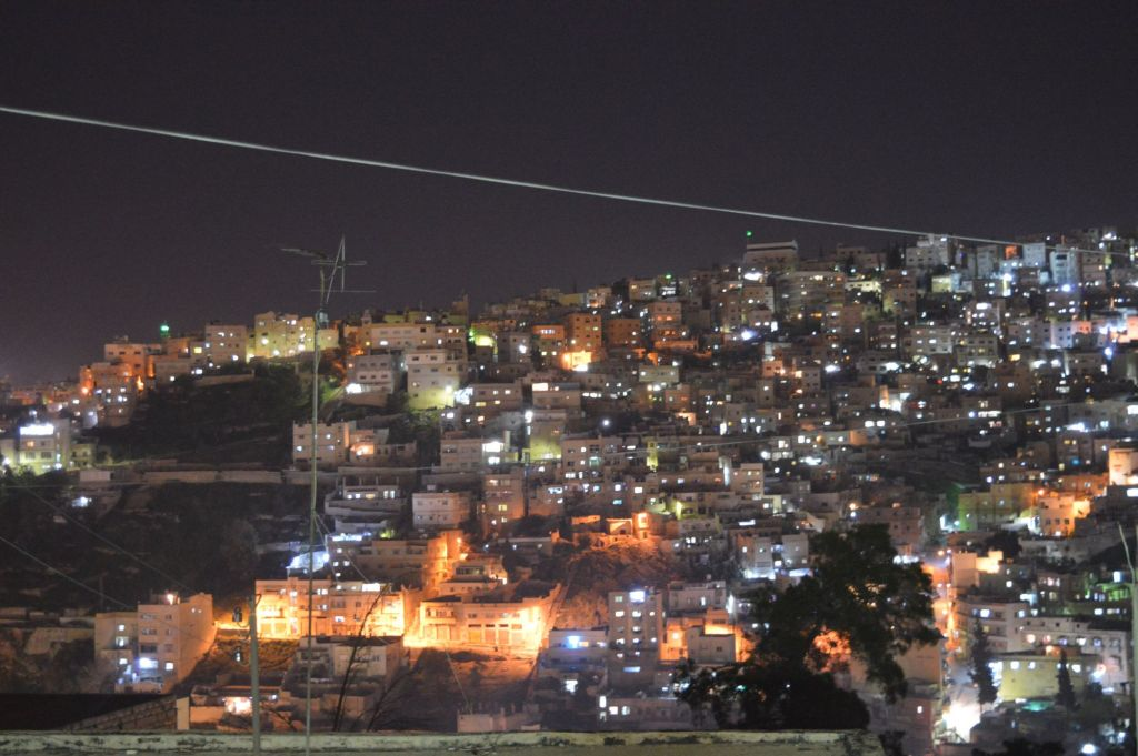 Downtown Amman at night, March 26, 2015 (photo credit: Avi Lewis/Times of Israel)