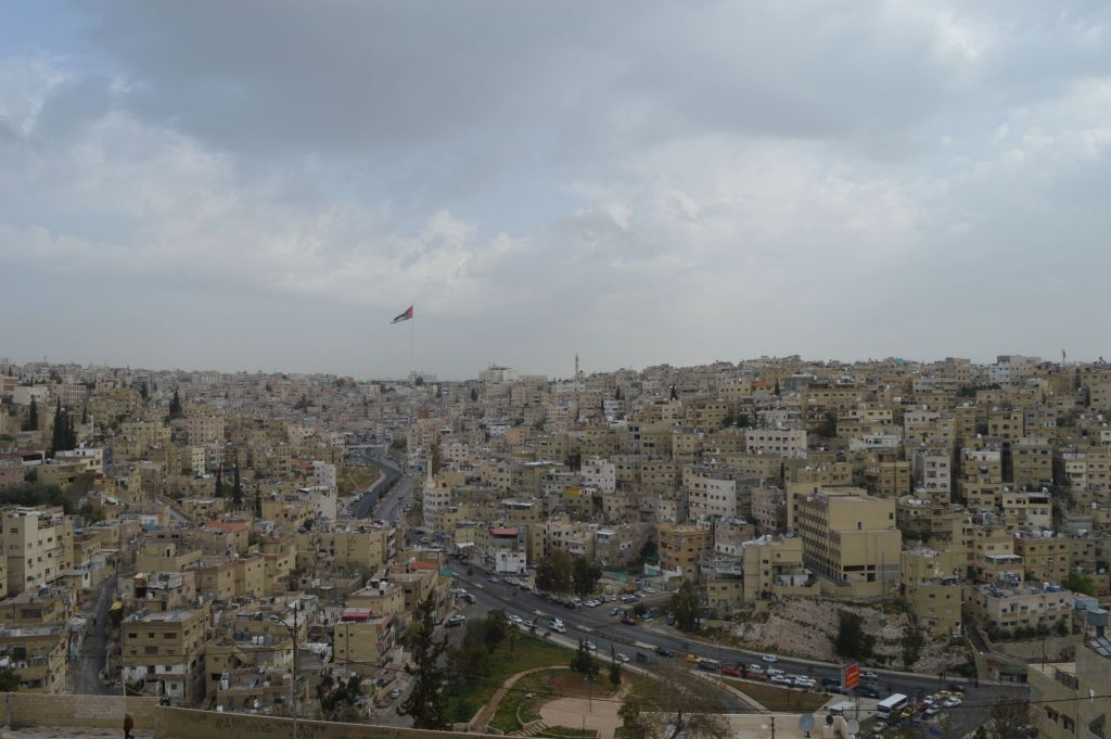 Amman as seen from the Roman ruins of Philadelphia, March 29, 2015 (photo credit: Avi Lewis/Times of Israel, Benyamin Loudmer)